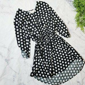 Mimi Chica Black & White Cat Print Shirt Dress